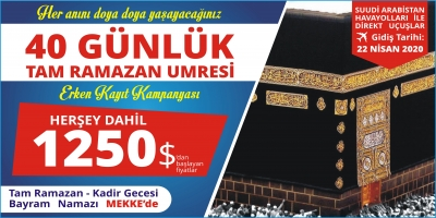 22 Nisan 40 Gün Tam Ramazan Servisli, Çubukçu Turizm, Sakarya'da Hac & Umre Turları ve Kültür Turlarında yıllardır sizlere hizmet vermektedir.